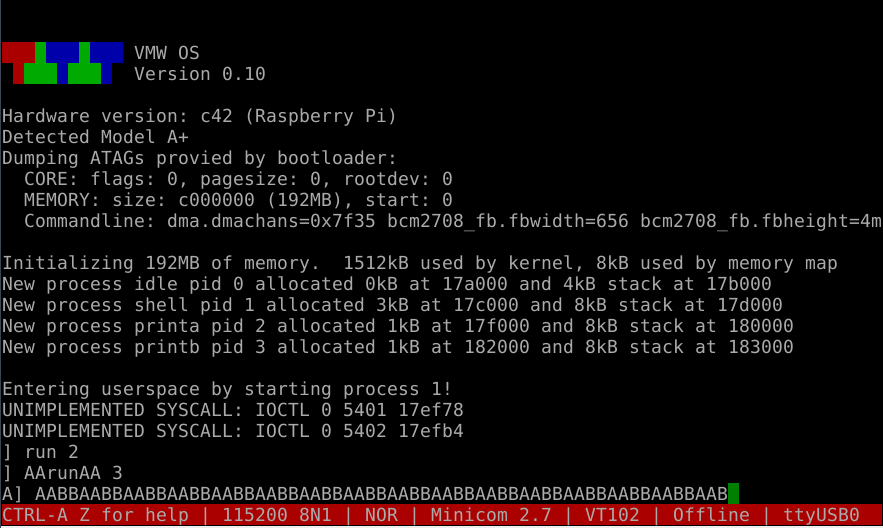 VMWos -- a homebrew operating system for the Raspberry Pi